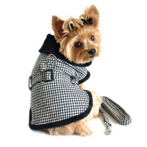 Black White Classic Houndstooth Dog Harness Coat with Leash