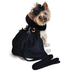 Black Wool Classic Dog Coat Harness and Black Fur Collar with Matching Leash