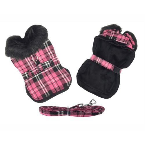 Hot Pink Plaid Classic Dog Coat Harness with Matching Leash