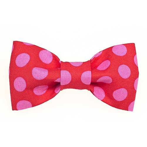 Bow Tie - Red Hot Pink Dots